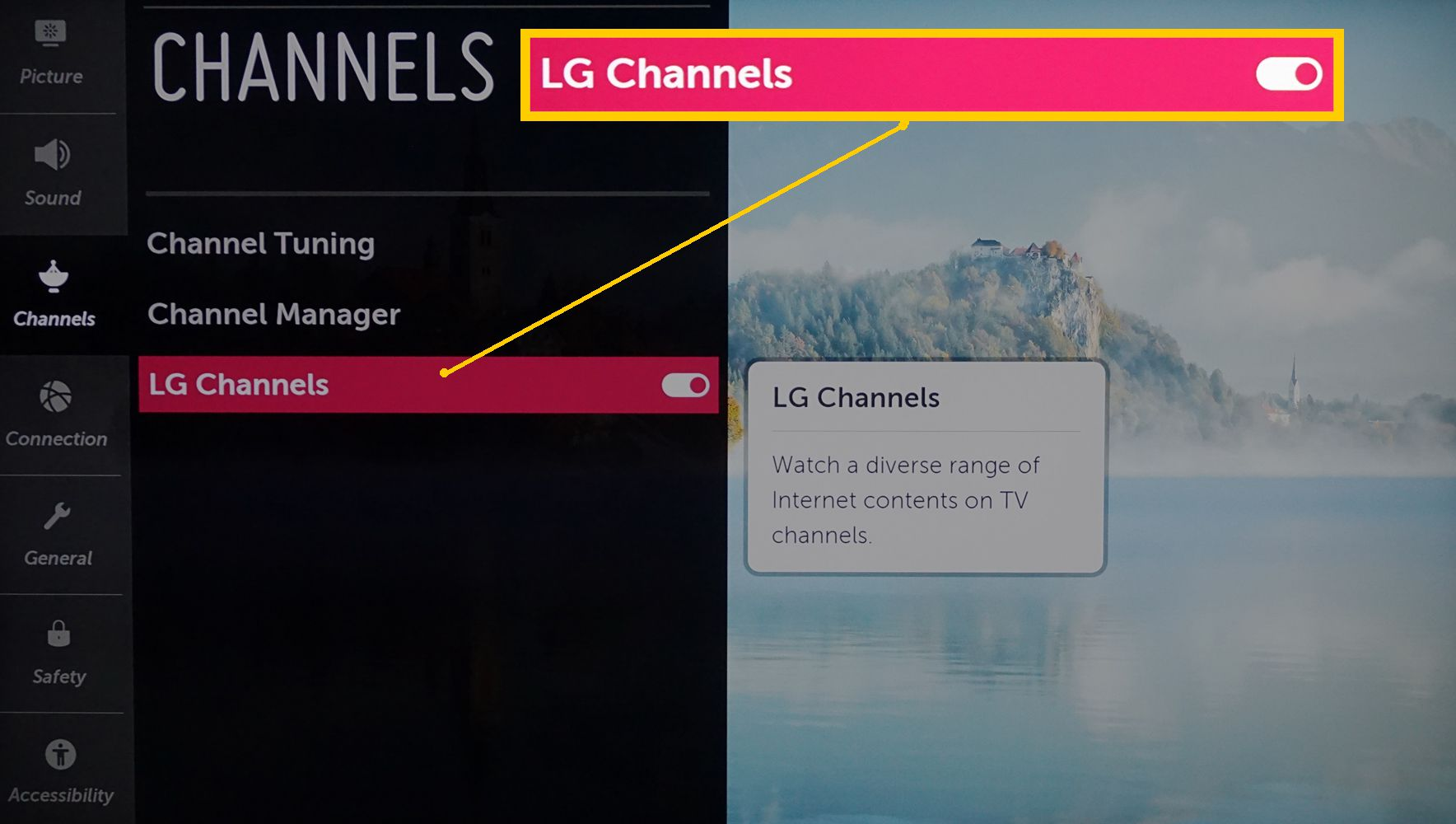 LG Channels Turned On