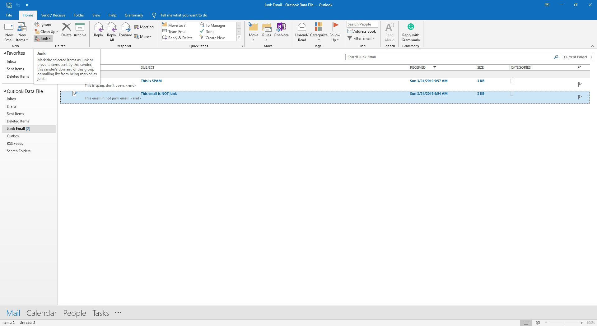 Highlighting the Junk email button in Outlook