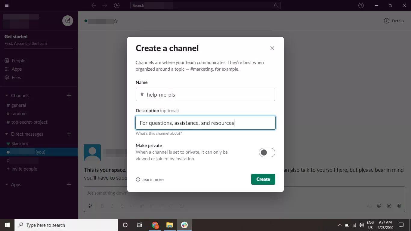 Create a channel window