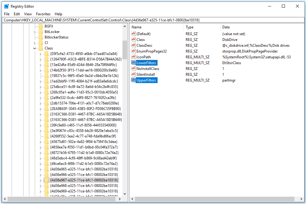 UpperFilters and LowerFilters Registry Values for a Windows 10 disk drive