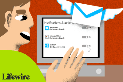 Illustration of a person configuring Outlook notification settings