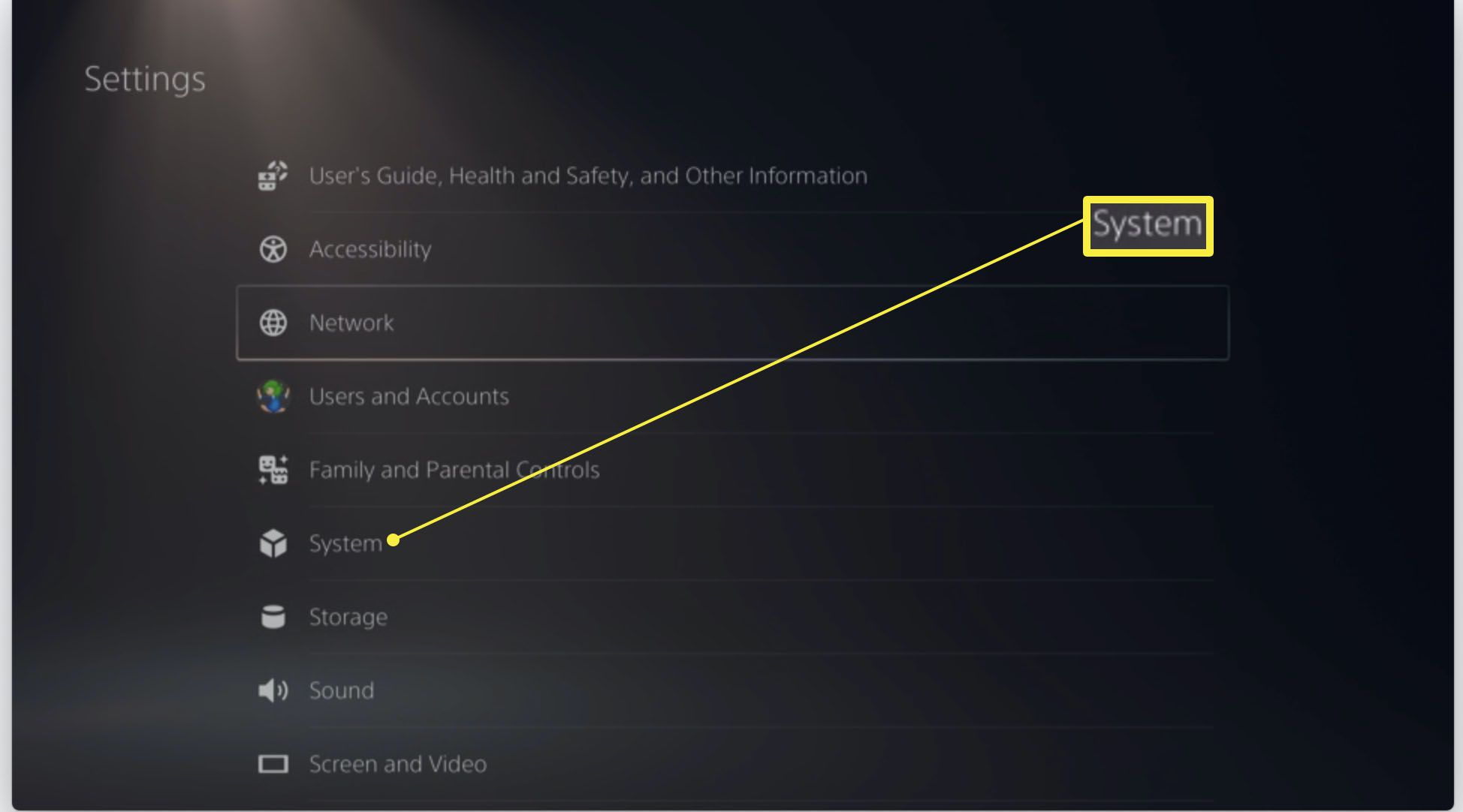 PlayStation 5 settings with System highlighted