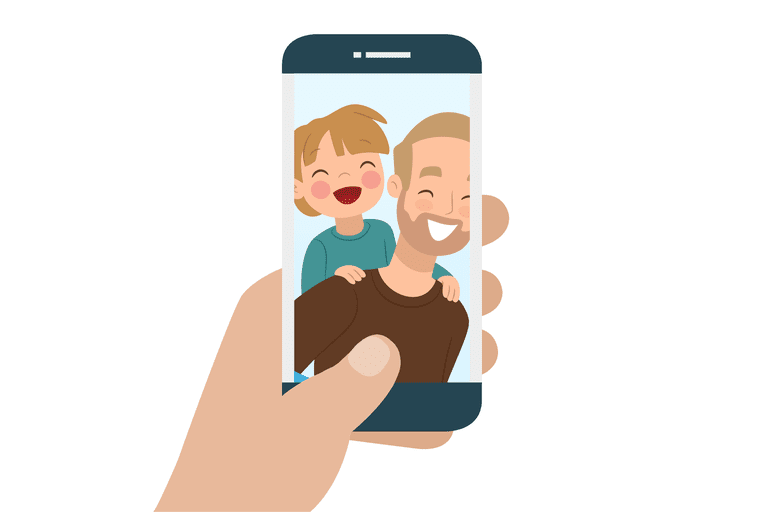 Illustration of someone holding a phone with a man and his son in the picture
