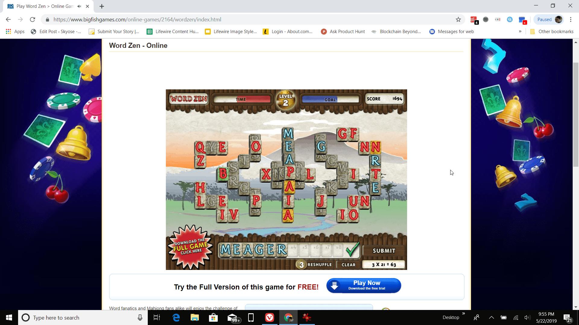 Screenshot of playing Word Zen