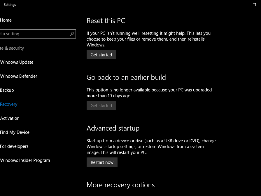 Using Windows 10's System Recovery