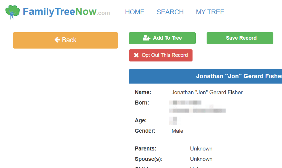 FamilyTreeNow opt out this record button