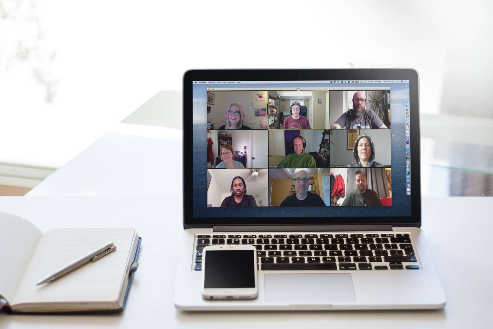 Zoom video conference on Macbook Pro
