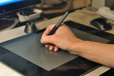 Hand drawing on an animation tablet
