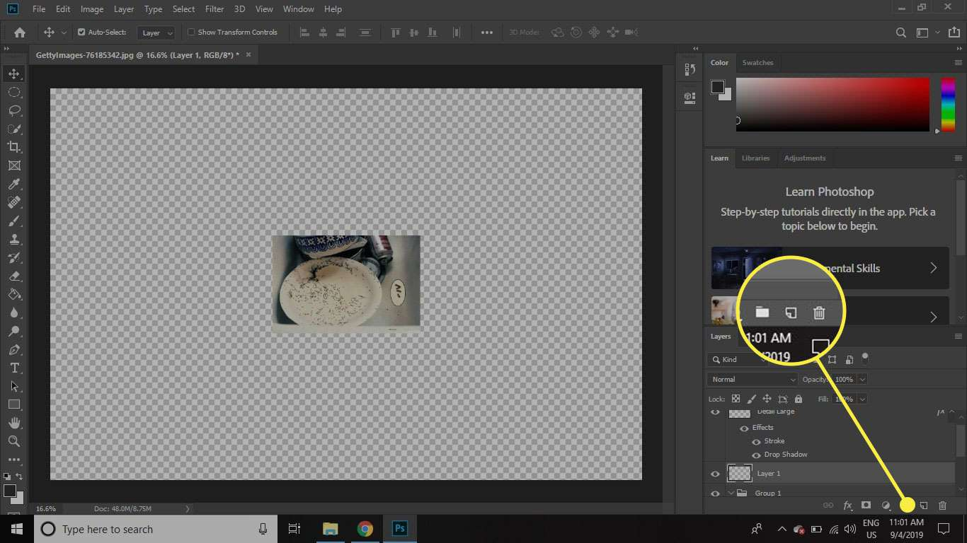 A screenshot of Photoshop with the New Layer option highlighted