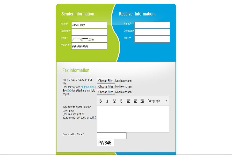 A screenshot of FaxZero's online fax submission form. In this form, you have to fill out your information, the recipient's information and then upload the document you want to fax.