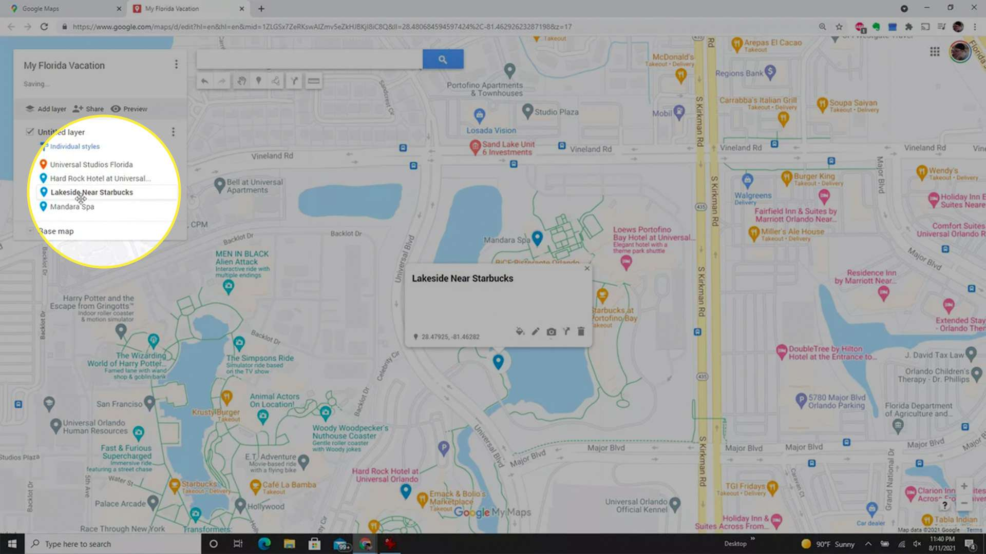 Ordering locations in a custom Google Maps map.