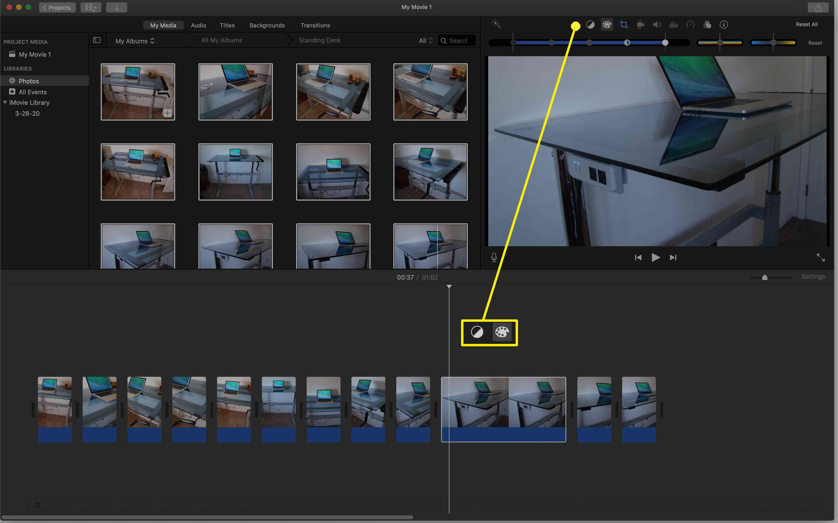Use the icons above the photo in the preview window to color correct the image, change the brightness and contrast, adjust saturation.