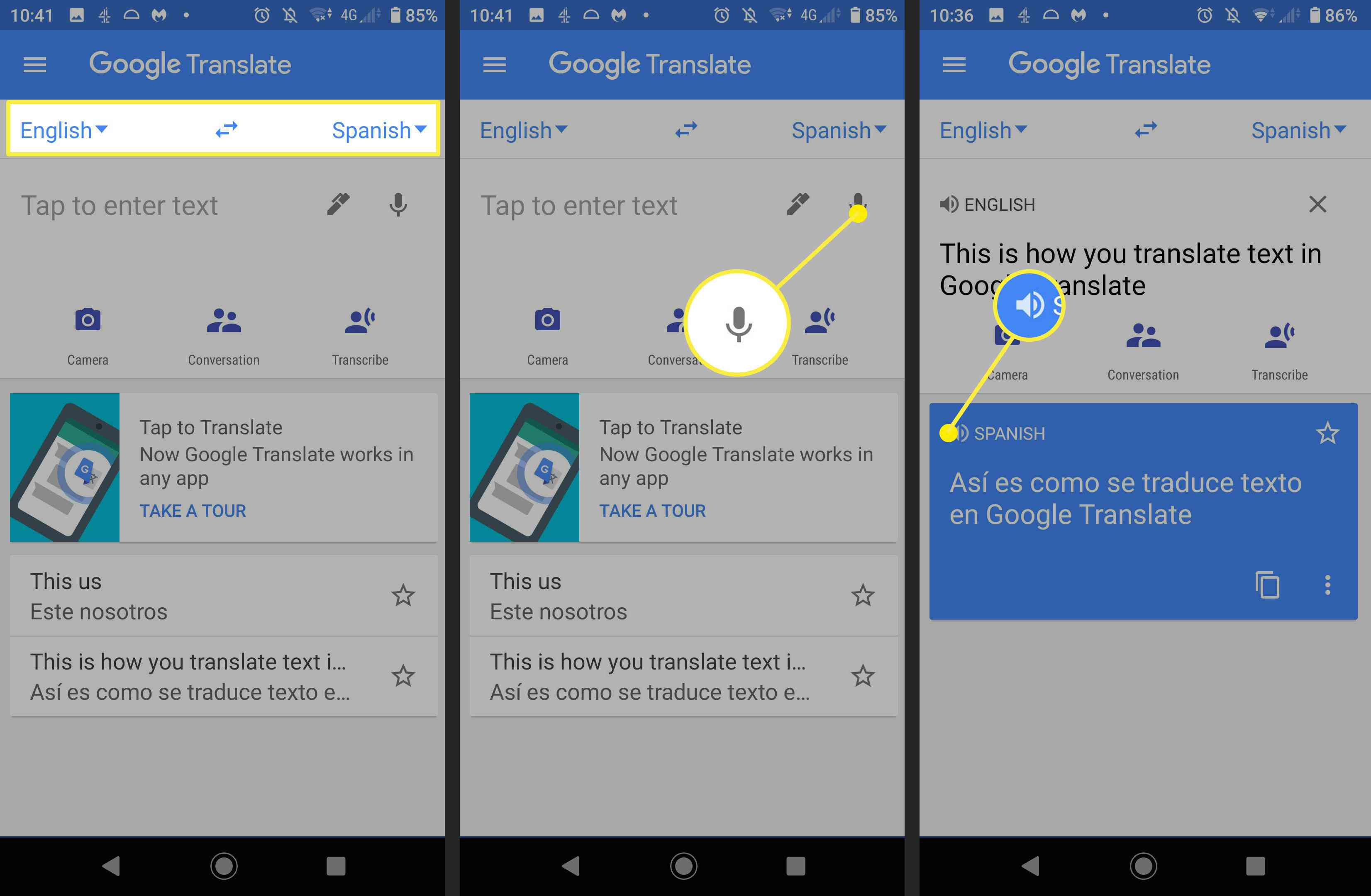 Screenshots showing how to dictate and listen to translations in Google Translate.