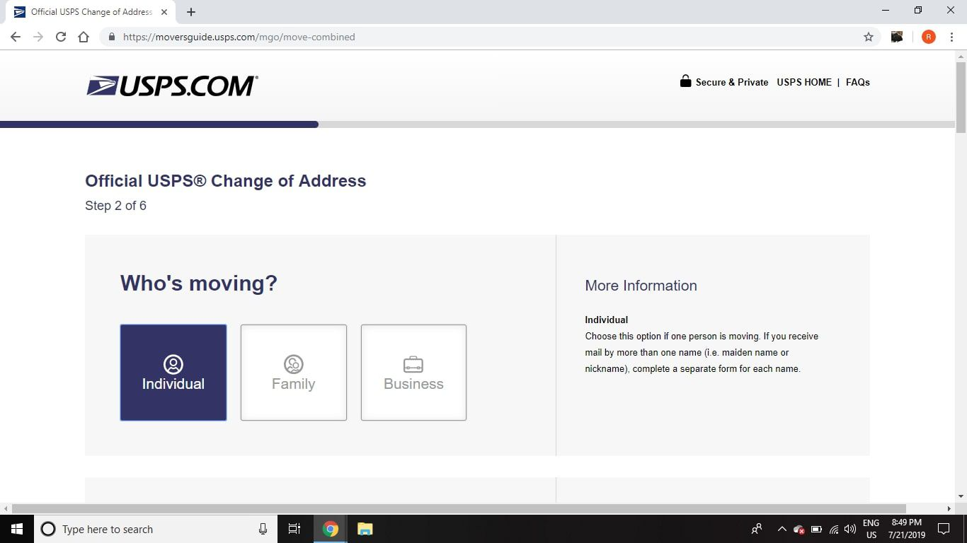 how to change my postal address online