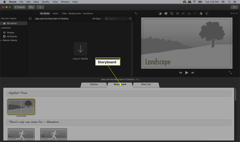 iMovie trailer storyboard