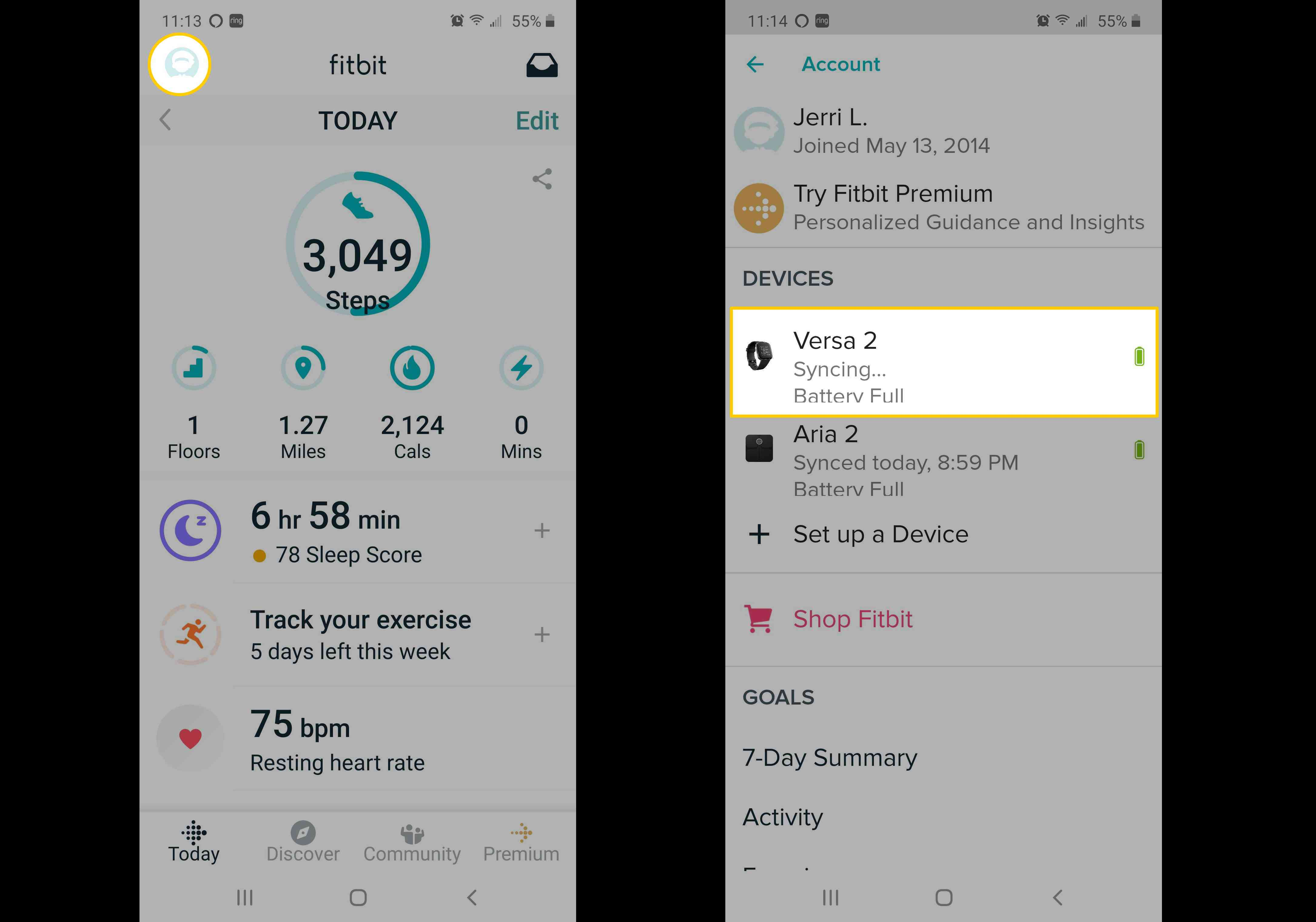 Screenshots of the Fitbit app showing how to choose your Versa.