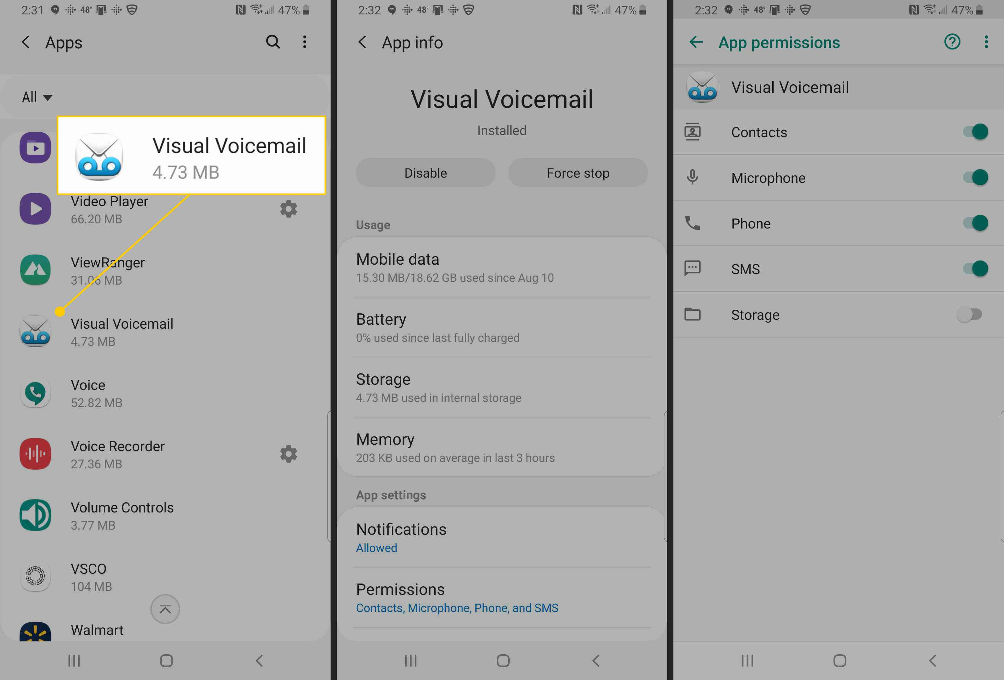 Visual Voicemail screens on Android