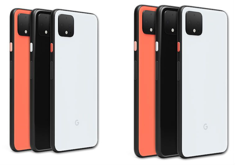 Pixel 4 and Pixel 4XL phones in each available color.