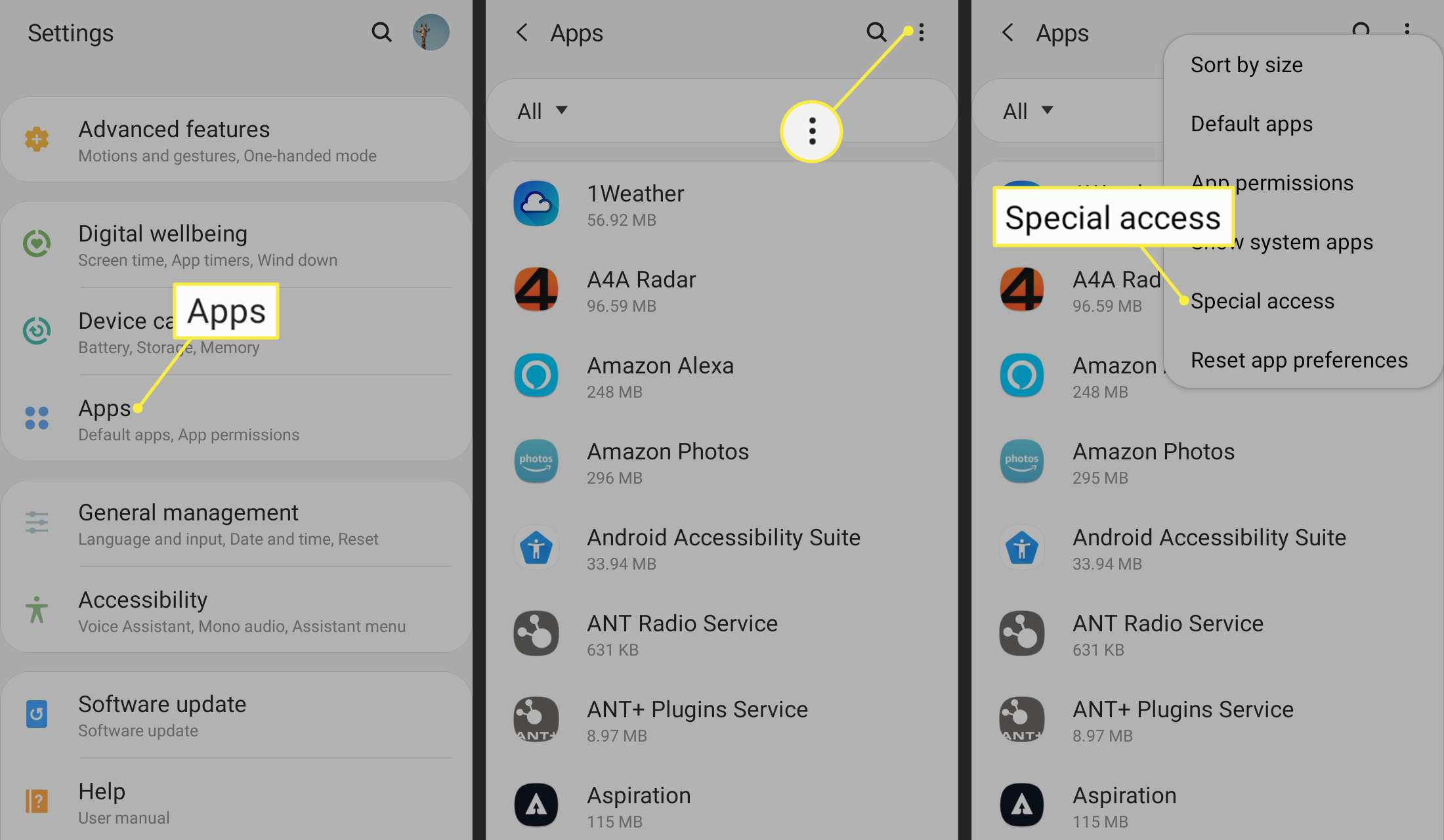 Apps, More menu, and Special Access in Android settings