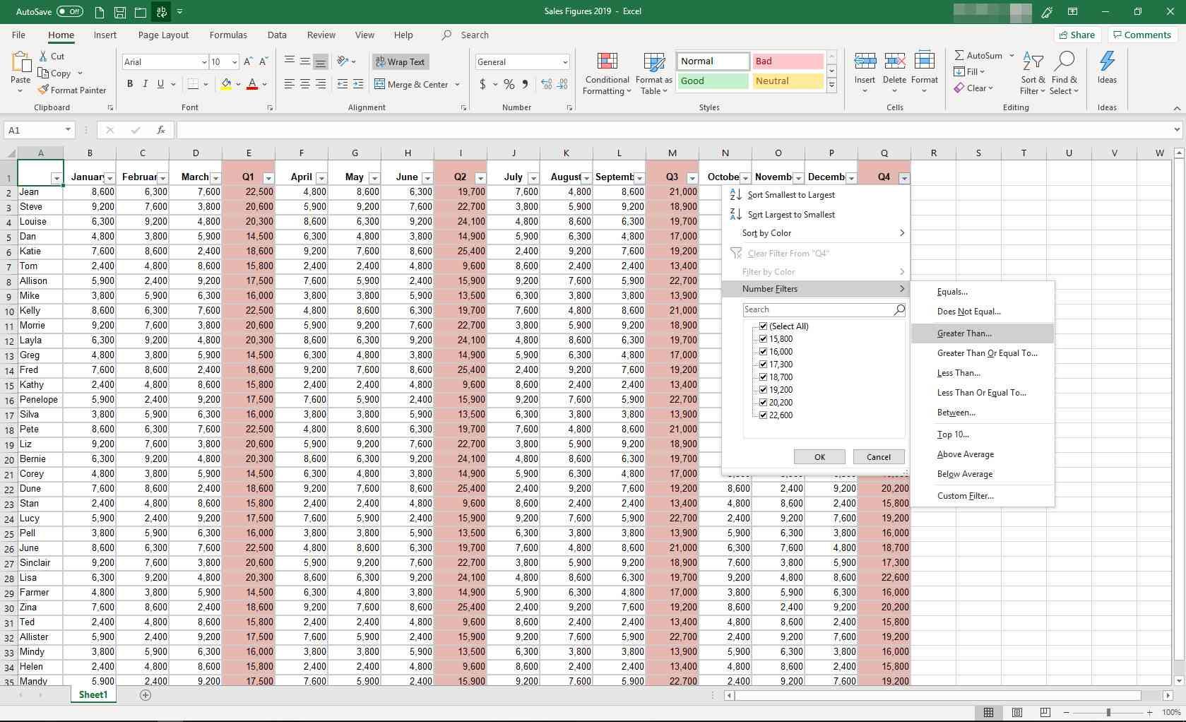 MS Excel with filtering menu displayed