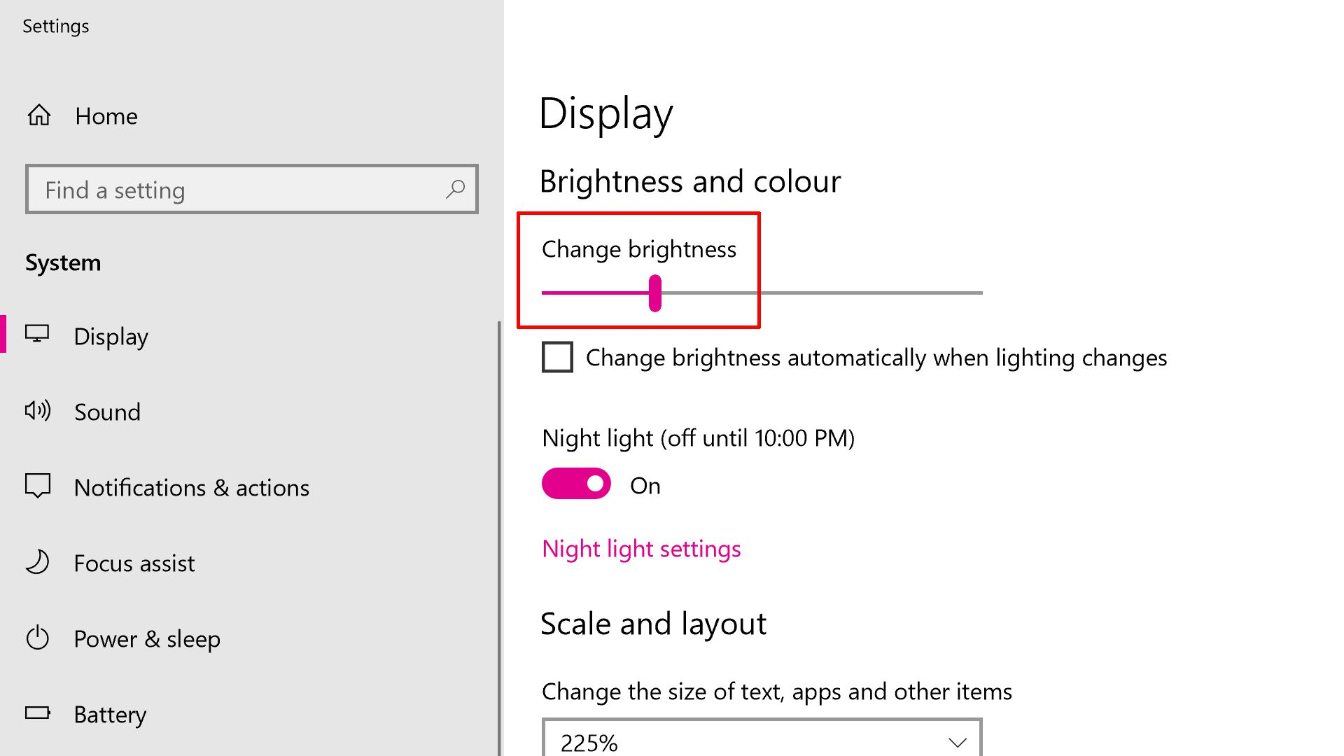 Windows 10 Brightness Settings screenshot