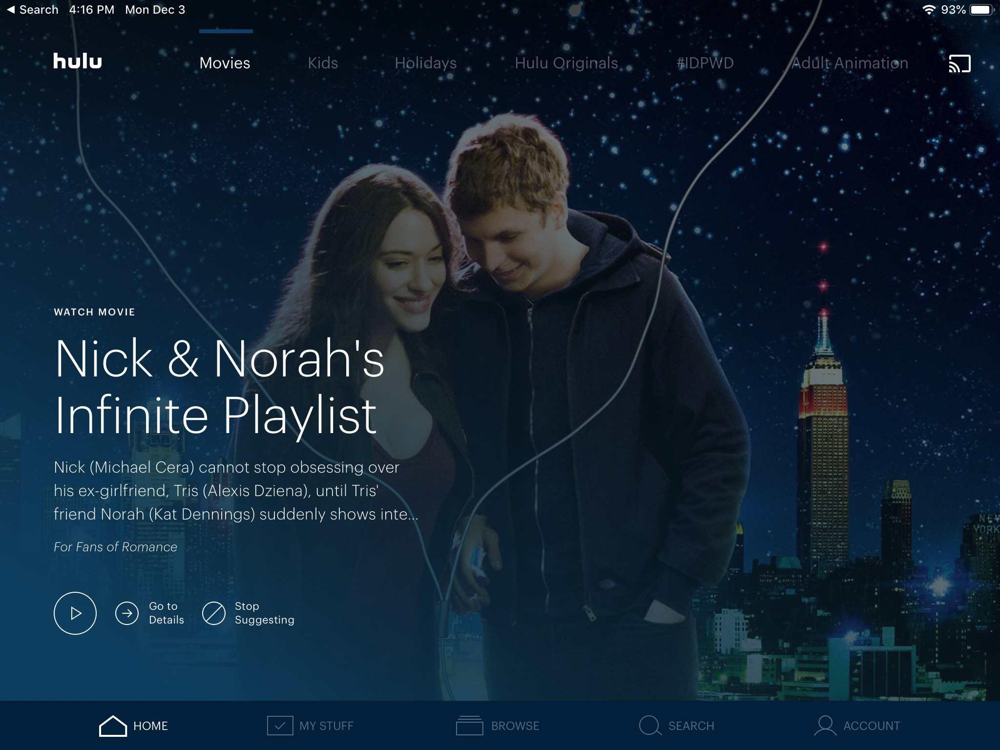 Hulu app screen on iPad