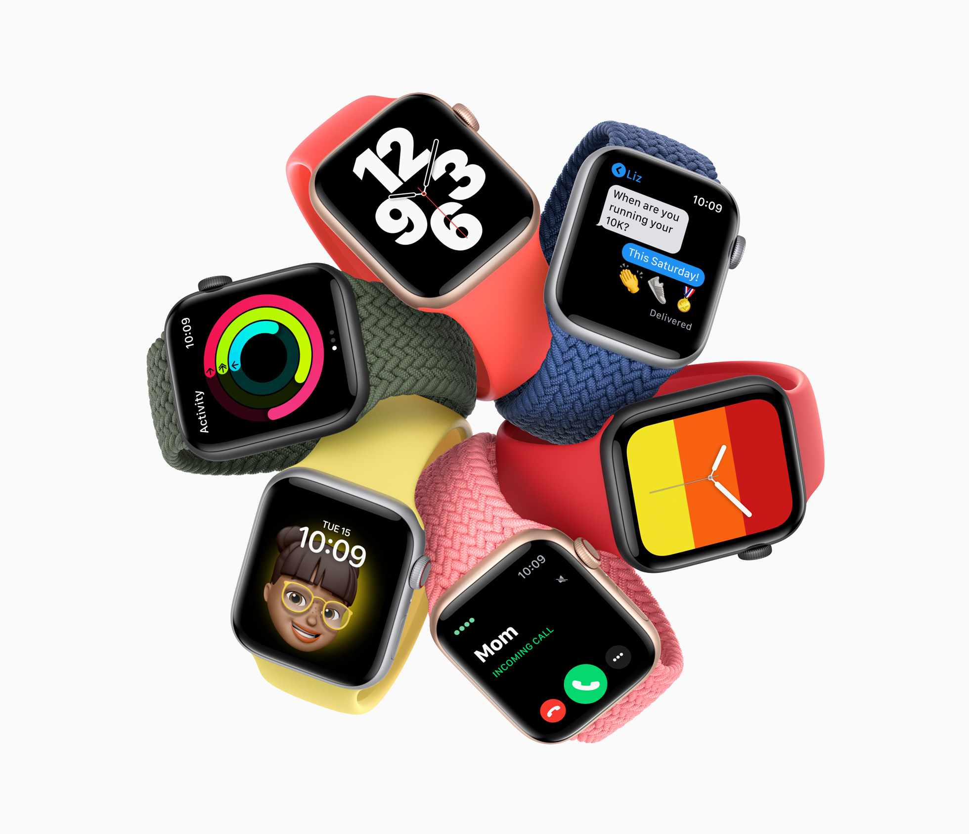 Apple Watch SE models in different colors.
