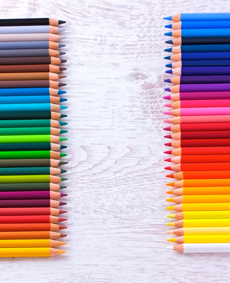 Colored pencils represent the various stops on the color spectrum