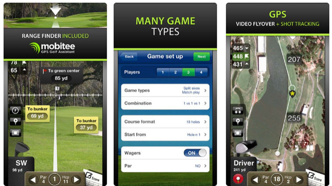 Screenshots of Mobitee Golf App.