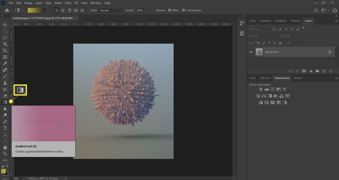 The gradient tool in Photoshop
