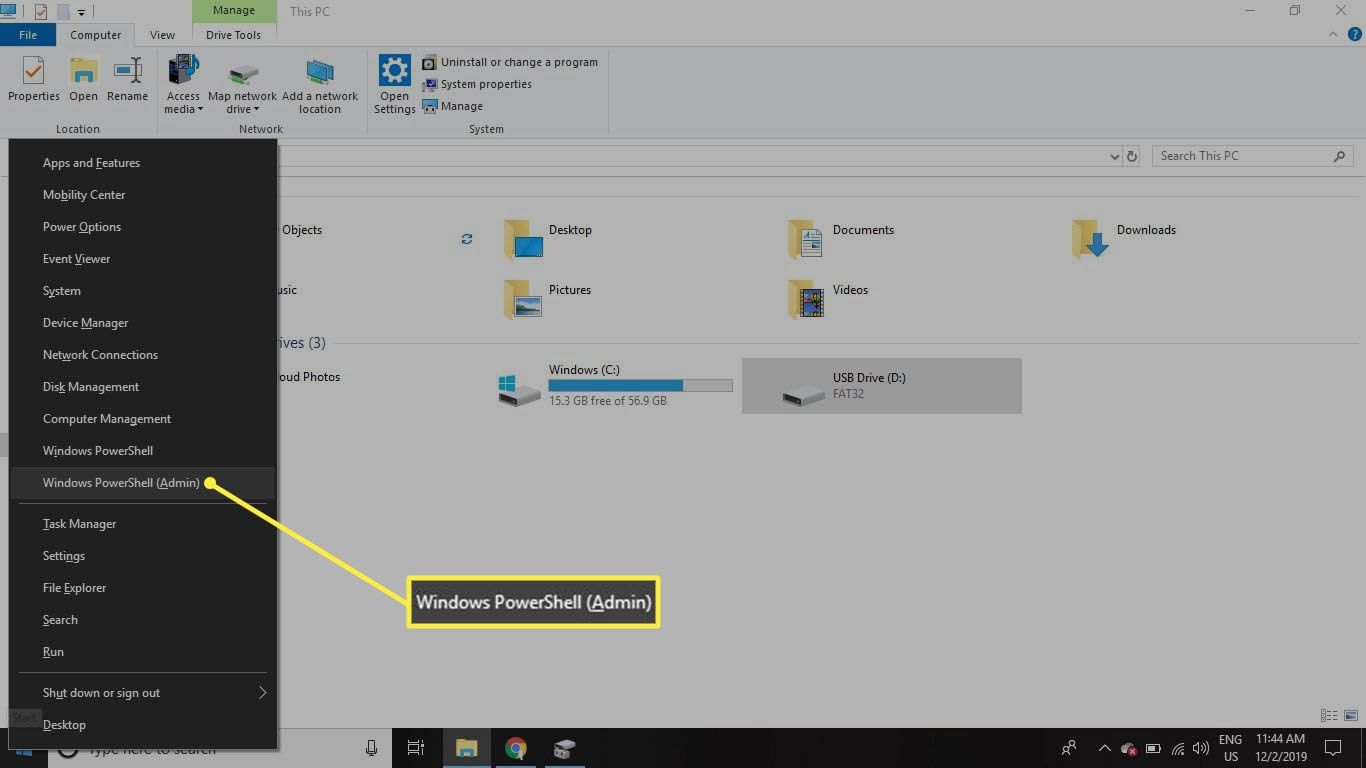 Right-click the Start menu and select Windows PowerShell (Admin) on Windows 10.