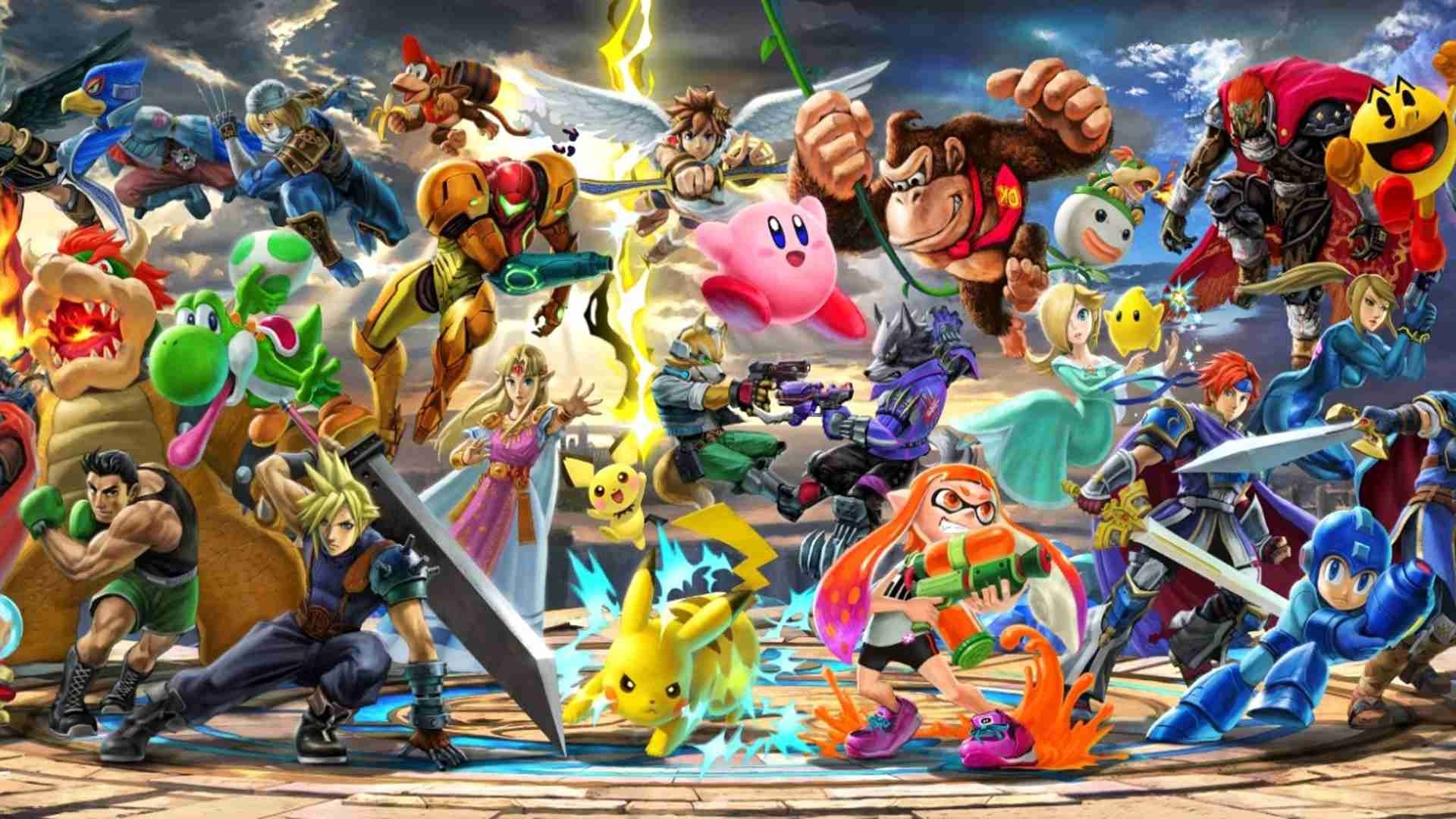 Super Mario Smash Bros Ultimate offline multiplayer fighting game on the Nintendo Switch.