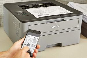 Monochrome printer with mobile printing from phone