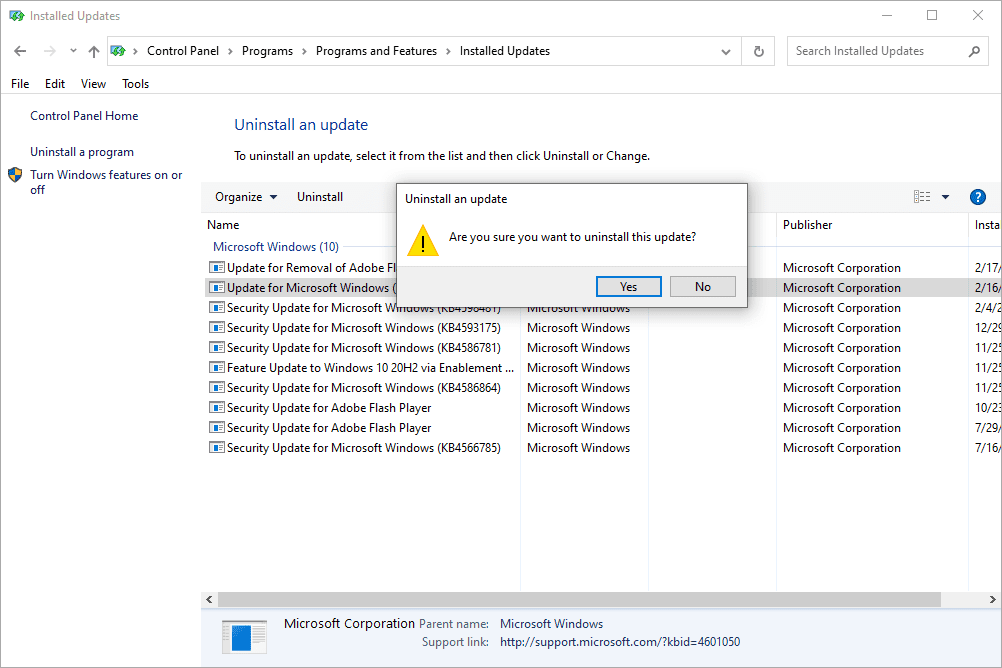 Uninstall an update confirmation box with a list of installed Windows updates
