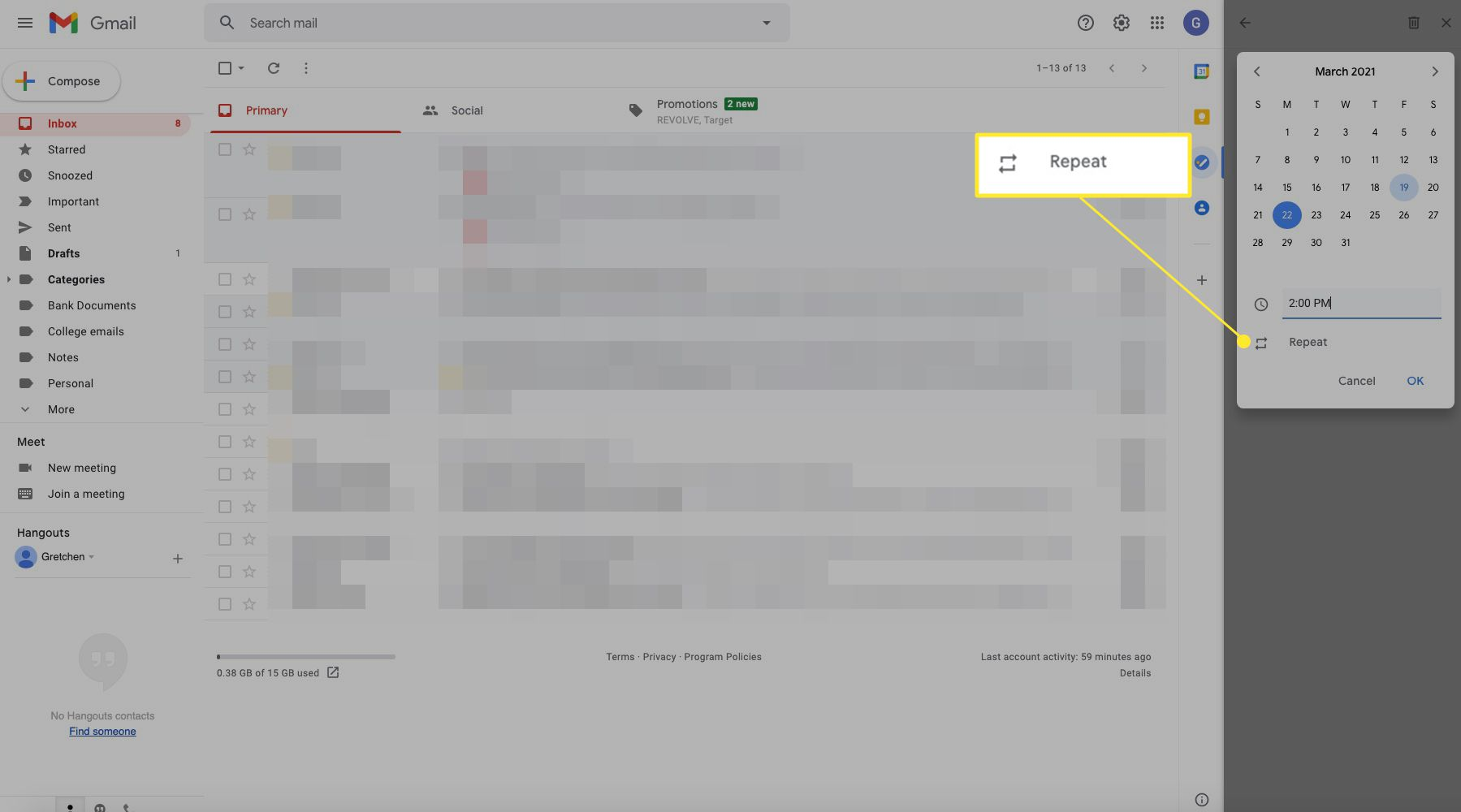 Google task screen with Repeat highlighted