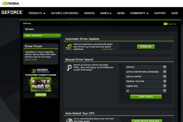 Screenshot of the driver download page for NVIDIA GeForce drivers