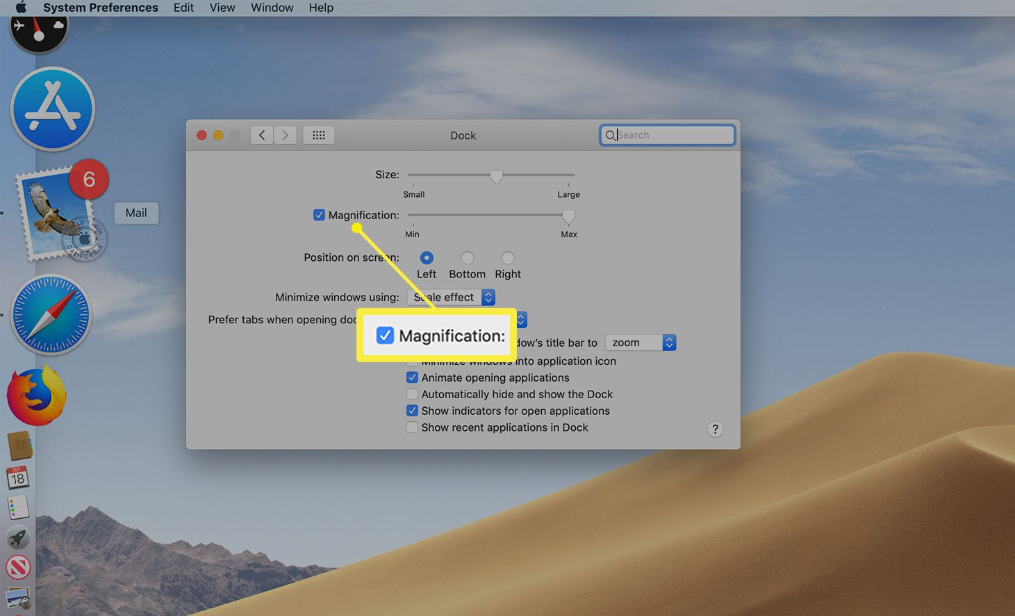 Magnification setting in use with Dock icons