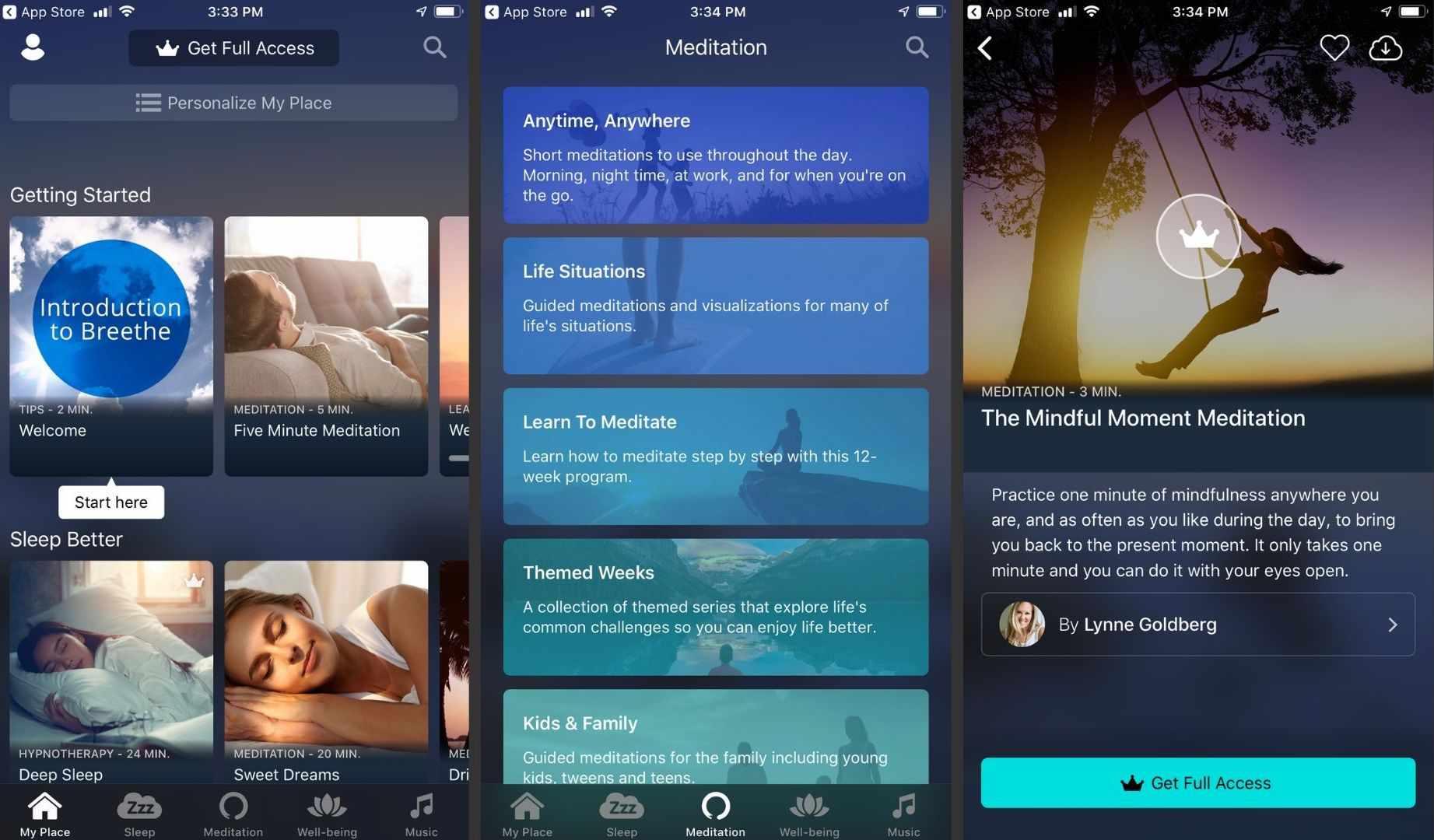 Three screenshots of the Breethe app.