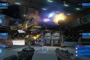 Screenshot for the split-screen multiplayer in Halo: Master Chief