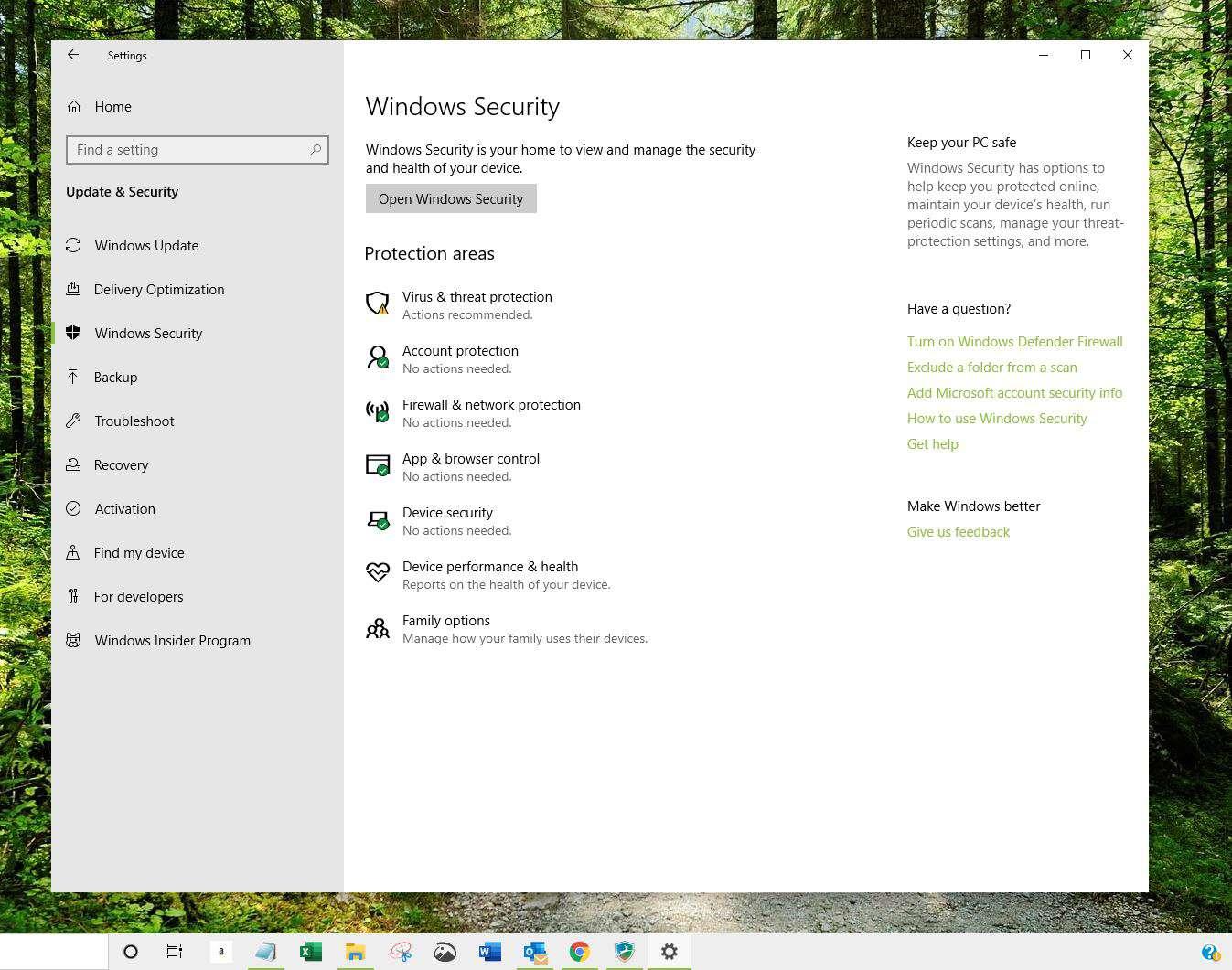 Windows Security in Windows 10
