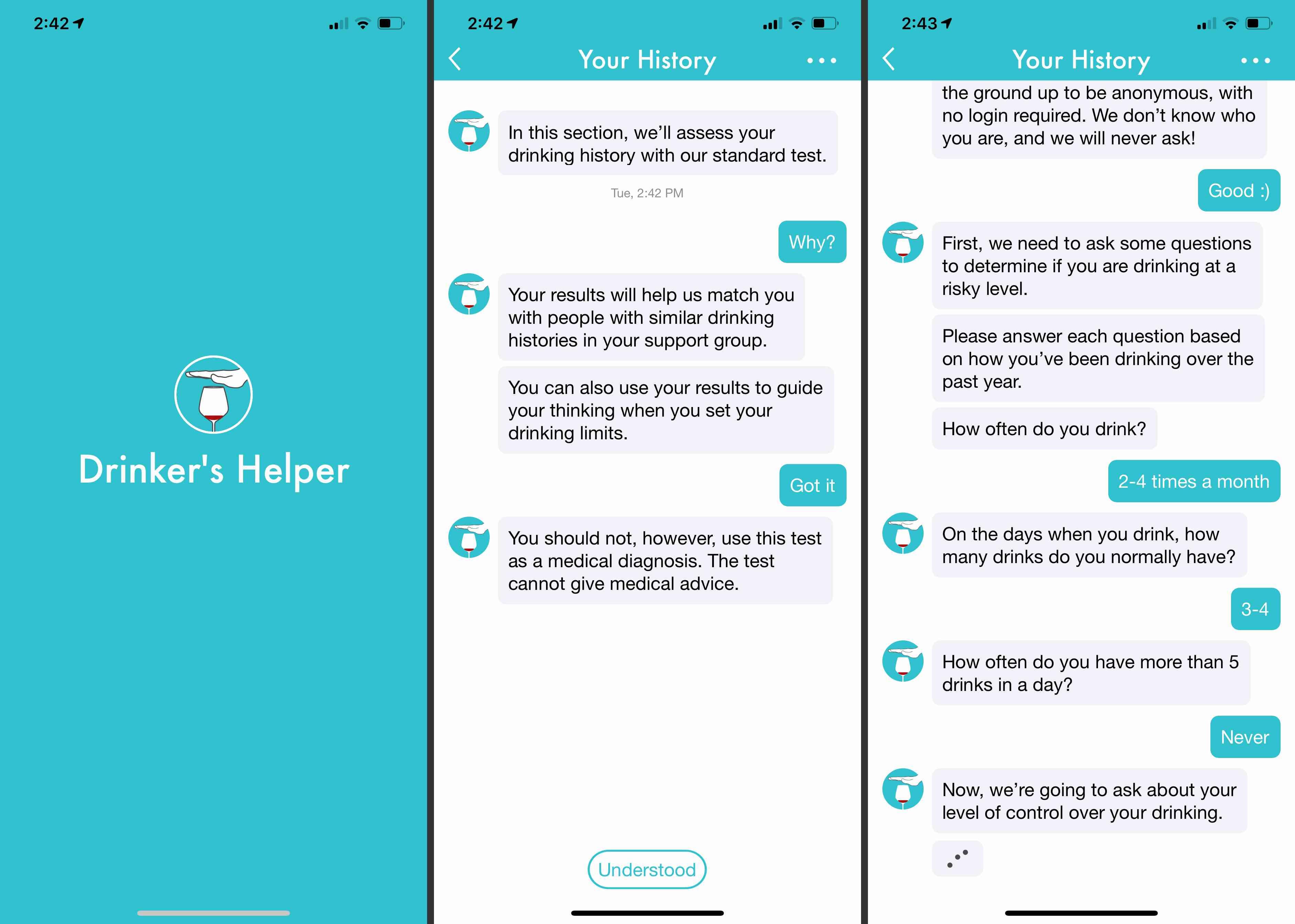 Drinker's Helper app