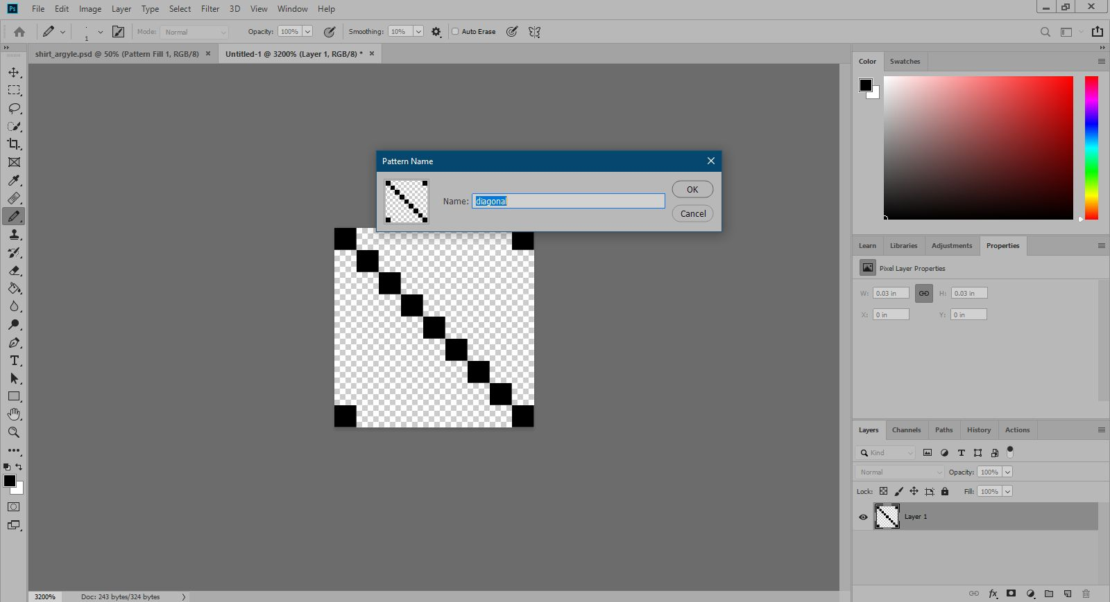Naming the custom pattern in Photoshop.