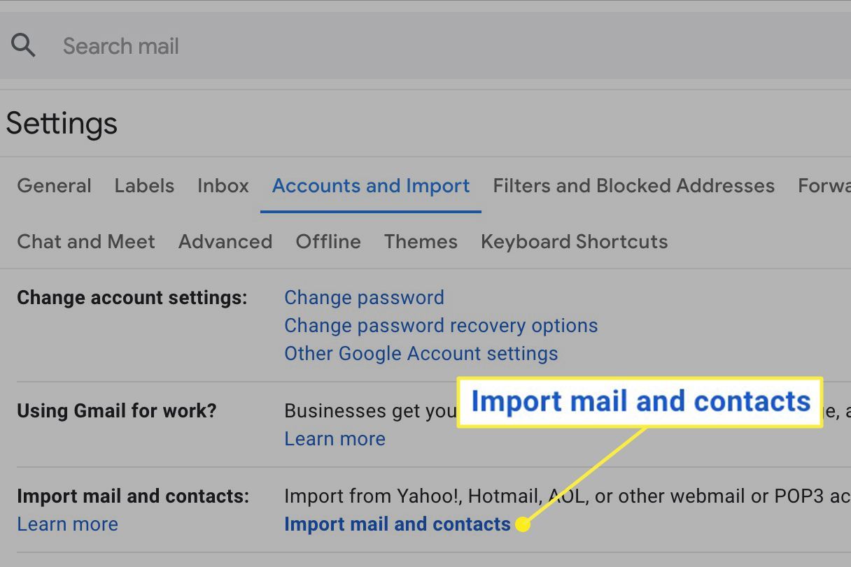 Import mail and contacts link