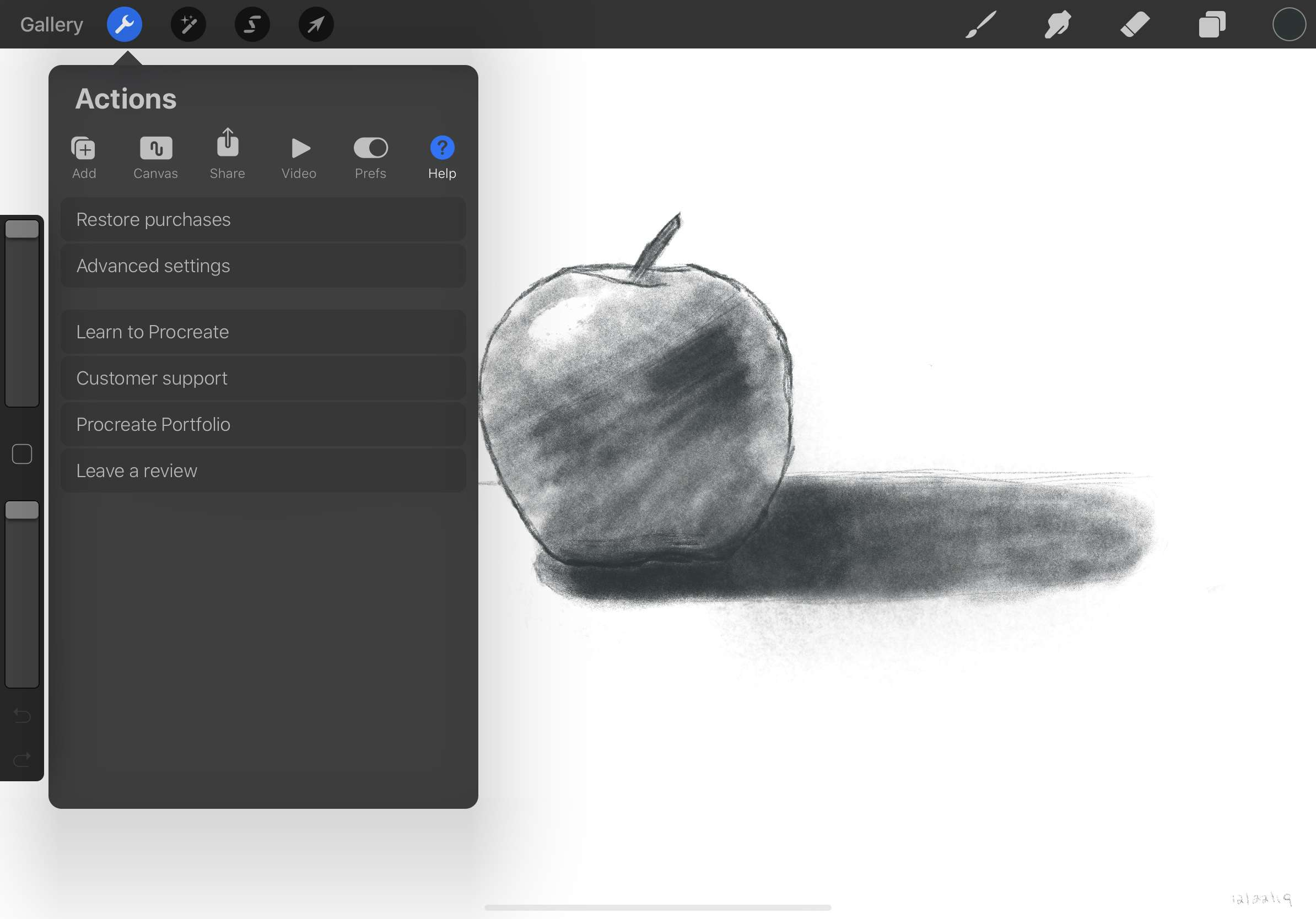 Procreate users can find help in the Actions menu