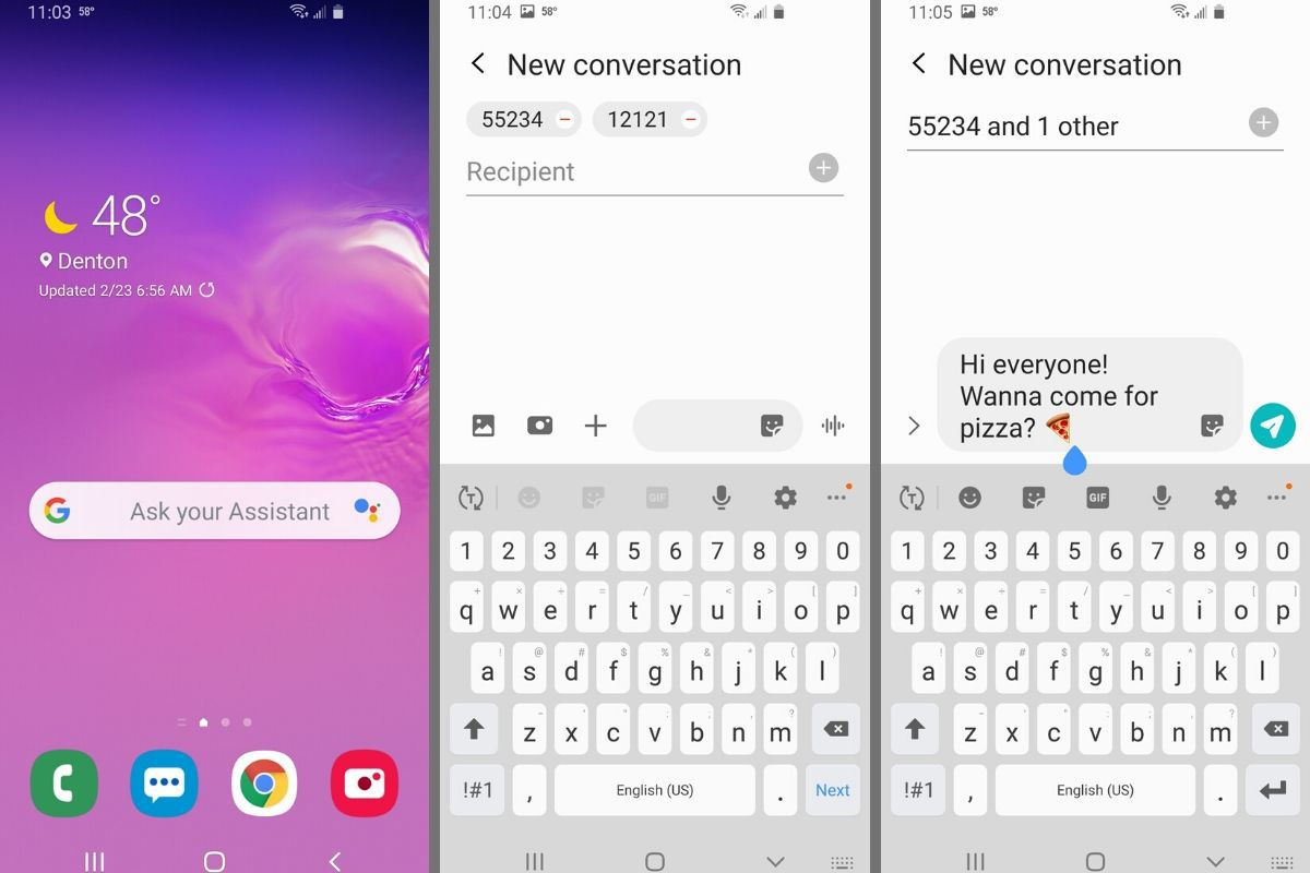 Group text example on Android