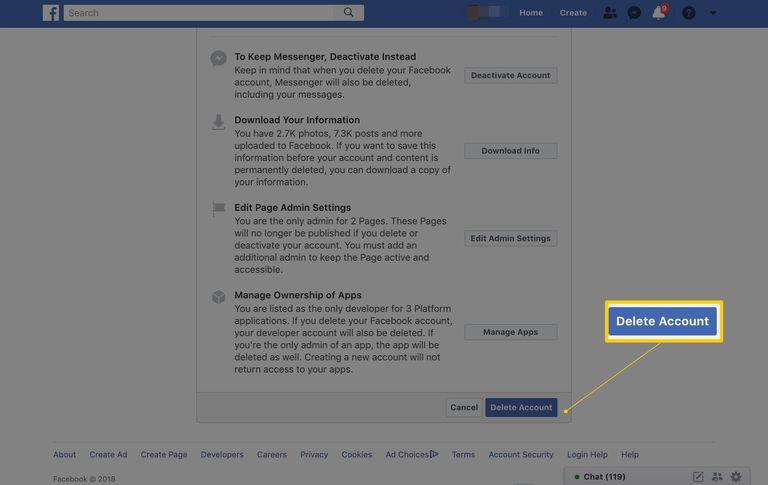 Facebook Delete Account button