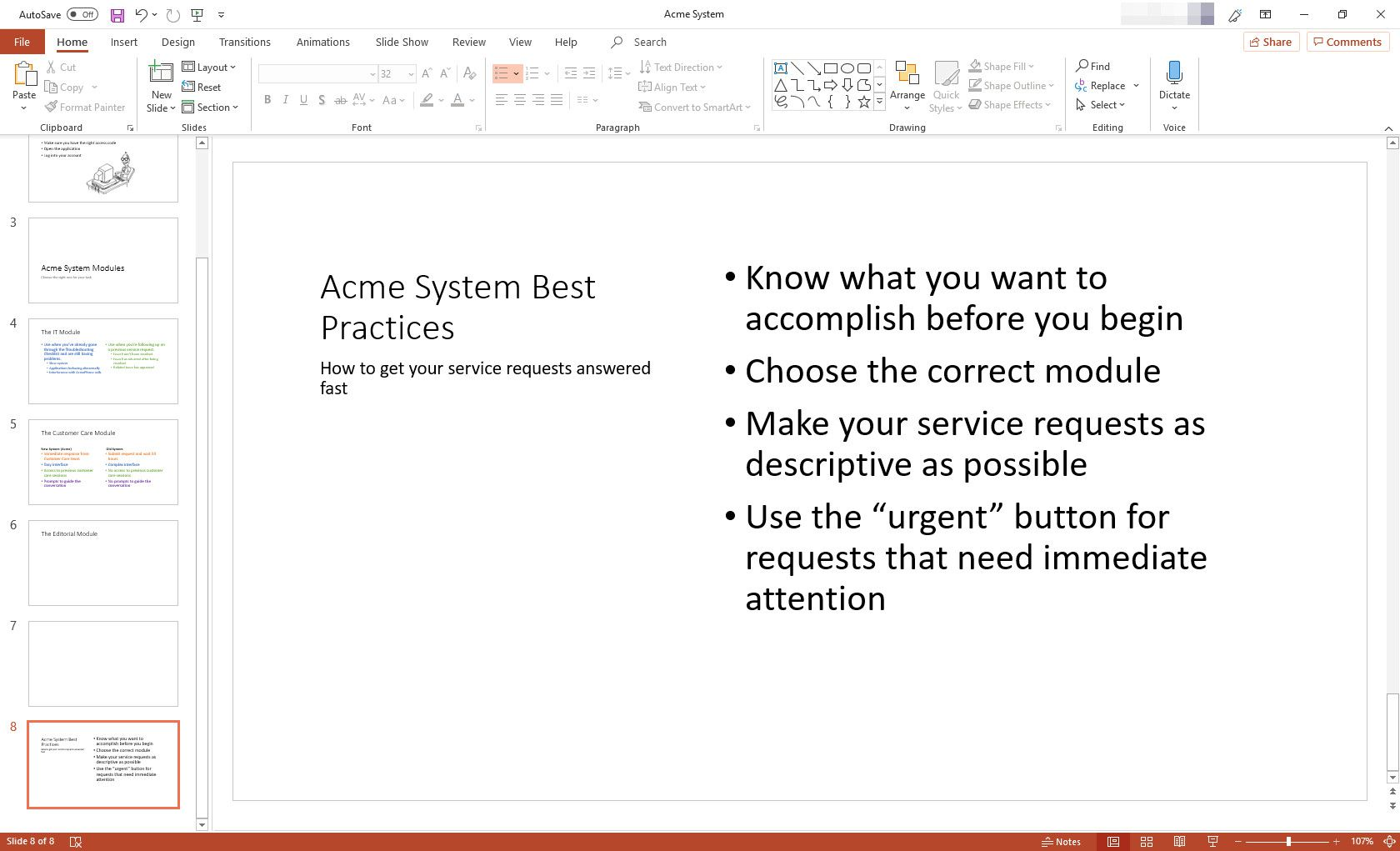 MS PowerPoint with Content With Caption slide layout displayed