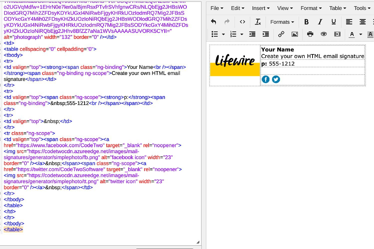 how to create an html email signature