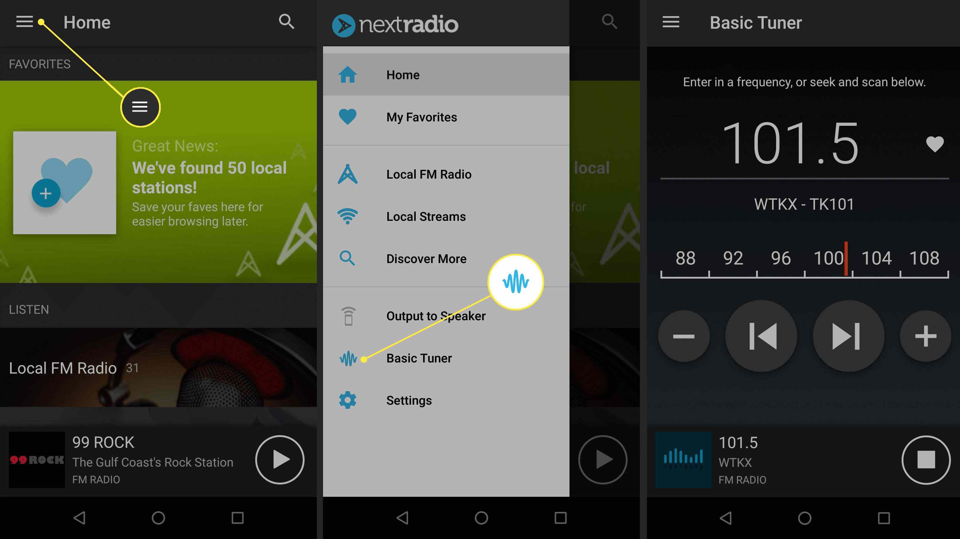 Basic Tuner in NextRadio