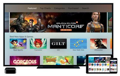 Games screen in Apple TV app store